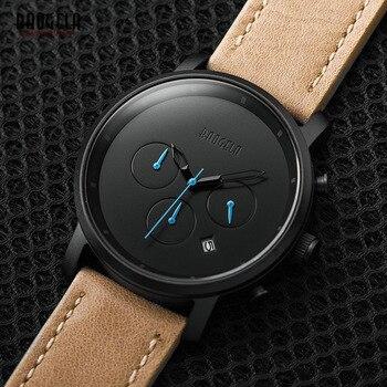 Baogela Mens Simple Chronographe Analogique Noir Quartz Montre, en cuir Bracelete Montre-Bracelet avec Calendrier Date pour Garçon et Homme 1705G