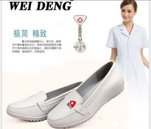 2016 Spring/autumn Office work shoes genuine leather women shoes Slip-on Ballet Flats Comfort Anti-skid white nurse Shoes H9011