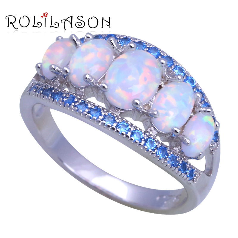 ROLILASON Special desgin White Fire Opal blue crystal Fashion Jewelry for Women 925 Silver Rings USA Size #6#7#8#9#10 OR906