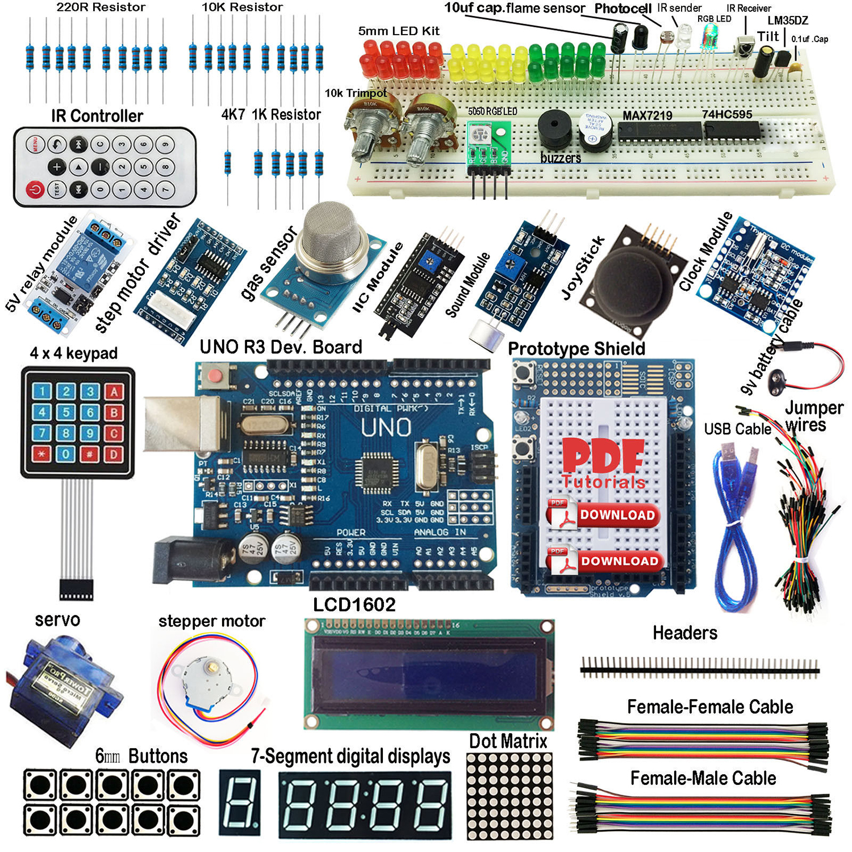 ULTIMATE UNO R3 Starter Kit for Arduino Keypad RTC 1602LCD Servo Motor Gas Relay uno r3 starter kit lcd1602 servo buzzer for arduino