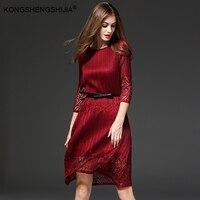 Red büro-kleid vestidos pin up vestido chiffon kleidung drei viertel sleeve knielangen sexy schwarzen kleid für frauen 15438