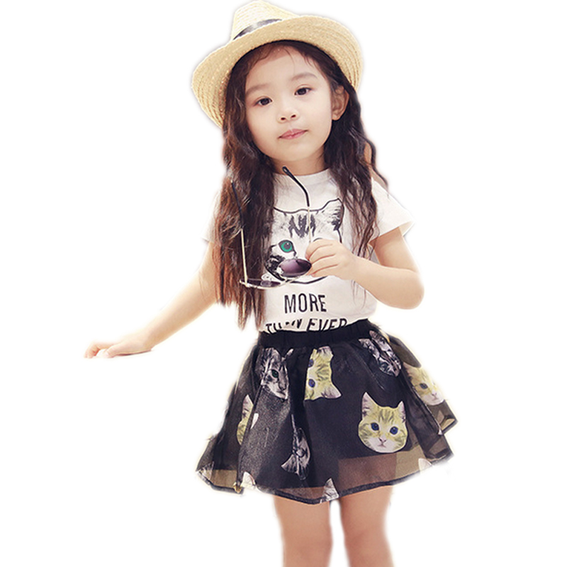 toddler girl clothing 2017 new summer girl clothes top cartoon cat printed short t shirt +mesh skirt girls summer clothes 2-7T цена 2017