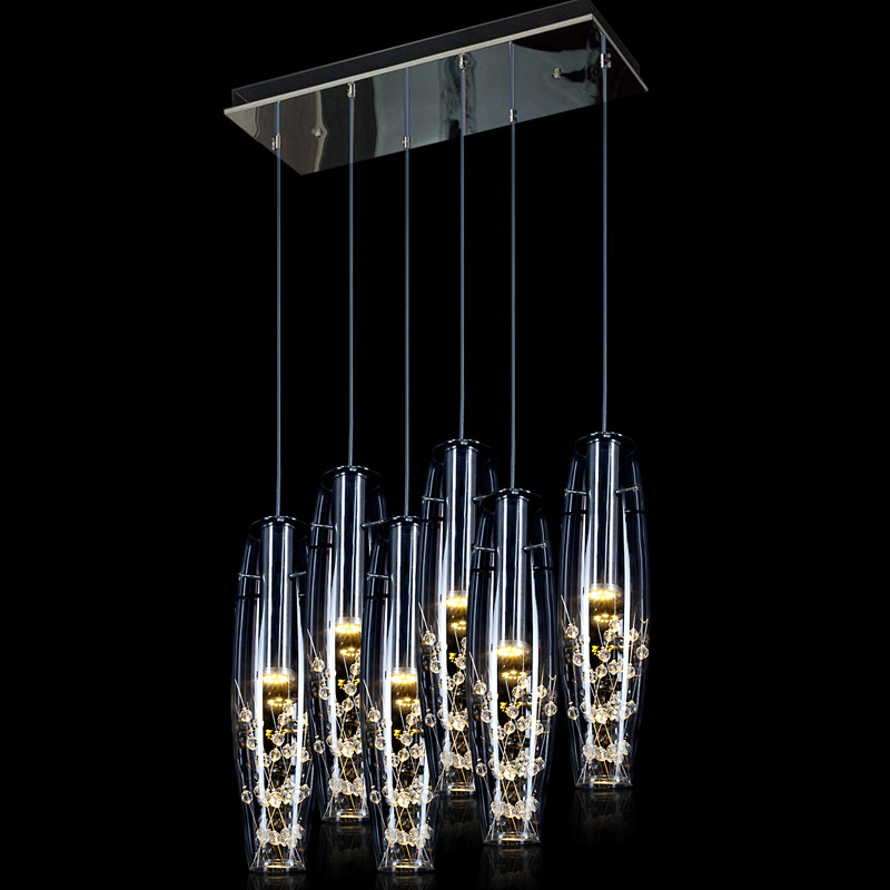 Modern LED Dining Room Crystal Pendant light Glass Vase Bottles Crystal Beads Inside Bar Counter Restaurant Stair Pendant Lamps