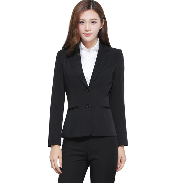2 Piece Set black Women Pant Suit Female students interview Uniform Designs Formal Style Office Lady Business Career Work Wear