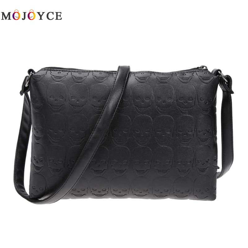 Women Skull Soft PU Leather Zipper Envelope Crossbody Bag Female Small Messenger Bags Girl Chain Shoulder Handbag Bolsa Feminin halloween skull printing women crossbody shoulder bag pu leather skull design women messenger bags handbag and purses