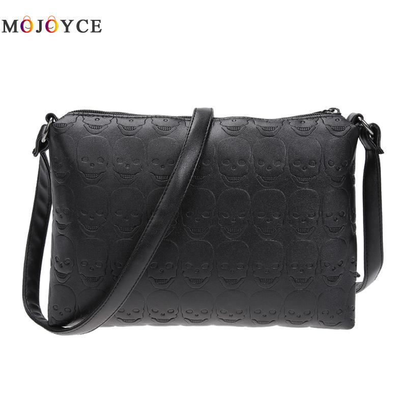 Women Skull Soft PU Leather Zipper Envelope Crossbody Bag Female Small Messenger Bags Girl Shoulder Leather Handbag