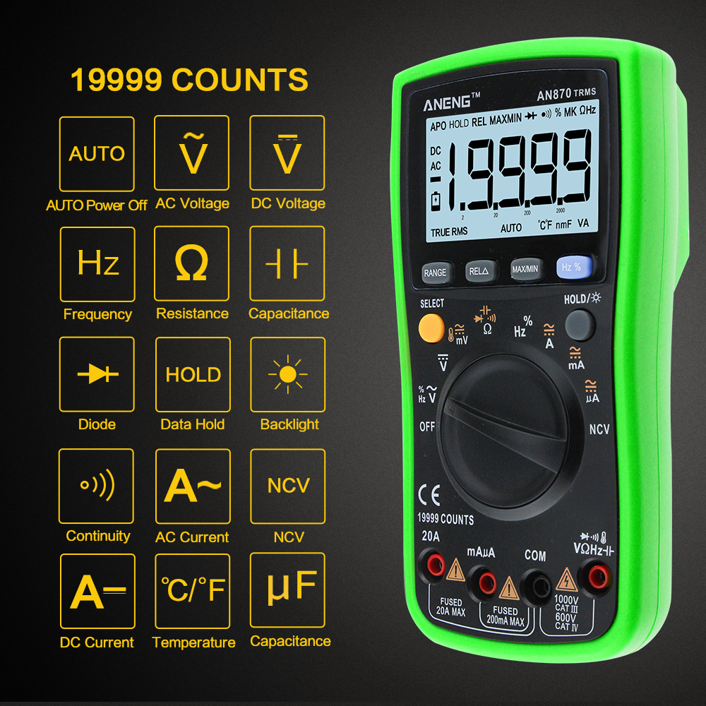 AN870 Auto Multímetro Digital 19999 counts-True RMS NCV Ohmímetro AC/DC Amperímetro Tensão Transistor de Potência Medidor de Temperatura tester