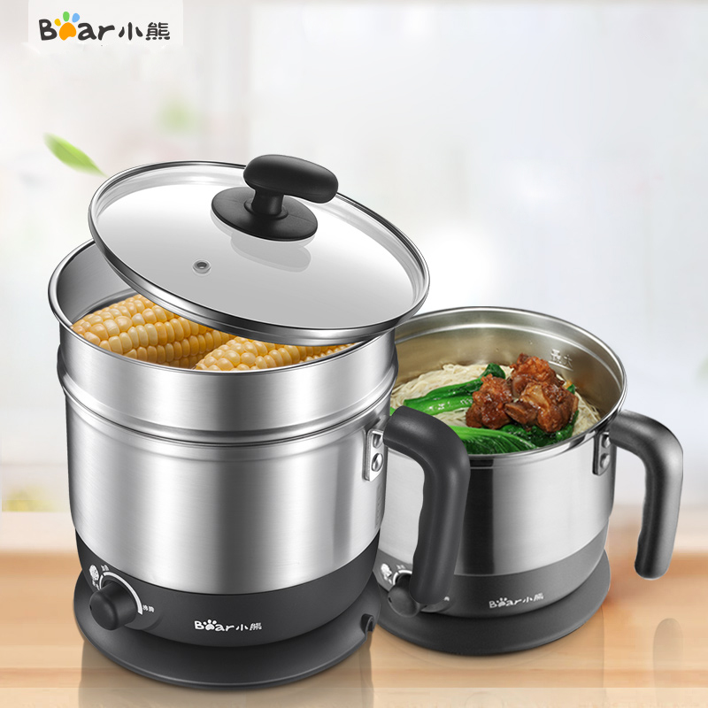 Bear DRG-C123 Electric Cooker Multifunction Split Cooking Double Layer Electric Cups Cooking Pot 220v 600w 1 2l portable multi cooker mini electric hot pot stainless steel inner electric cooker with steam lattice for students