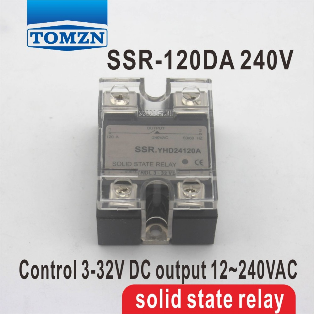 120DA SSR Control 3-32V DC output 12~240VAC single phase AC solid state relay normally open single phase solid state relay ssr mgr 1 d48120 120a control dc ac 24 480v