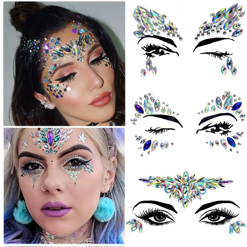 New DIY Sexy Women Face Sticking Resin Drill Stick Sticker Nightclub Electric Syllable Blingbling Eye Jewels Party Decor Sticker