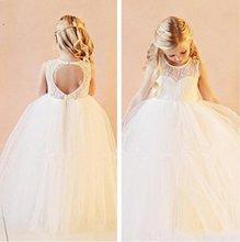 Lace Flower Girls Dresses For Weddings Open Back White/Ivory Kids Floor Length Bridal Gown 2017 Little Girls Pageant Dress