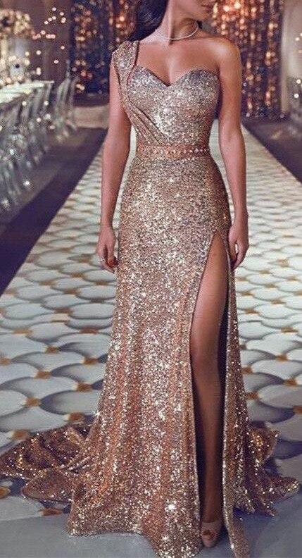 Gold Pour Alacchio Nu Une Irrégulière Hot Tenue De Solide parole Épaule Sexy Split Robe Fête Gatsby Estampage Longueur Dos Or Femme B0nRBqwarx