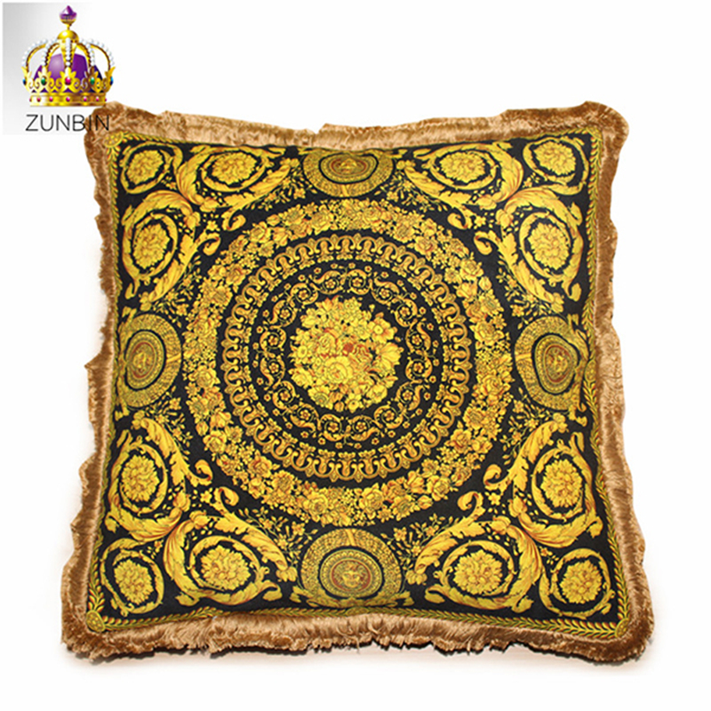 High end luxury royal europe rich french italy new design print rococo gold red wedding cushion