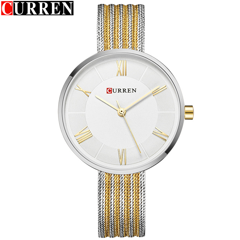 CURREN Analog Women Watch Silver Ultra Thin Women's Watch Bayan Kol Saati Fashion Women Wrist Elegant Woman Watch 2019 Sport(China)