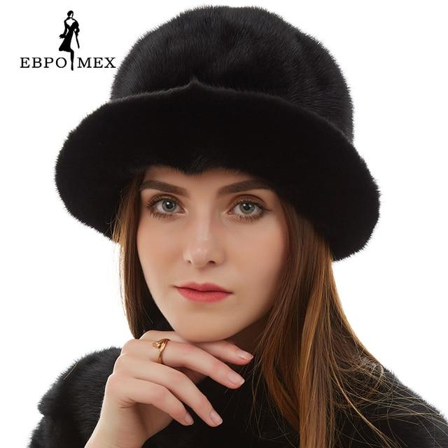 Мода меховая шапка Женская Повседневная норки hat Цветочные Украшения норки меховая шапка женская Натуральной Кожи зимние шапки для женщин