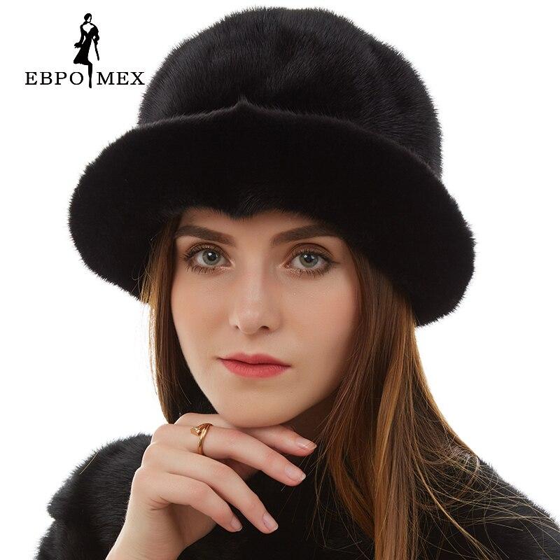 Fashion fur hat Women Casual Mink fur hat Floral Decoration mink fur hat womens Genuine Leather winter hats for women