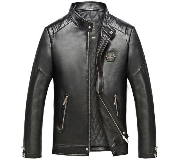 Herbst Winter 2016 Männer Trend Echtem Leder Motorrad Biker Jacke Kurze  Bauweise Schaffell Mantel Schwarz Plus bb3b3ed23b