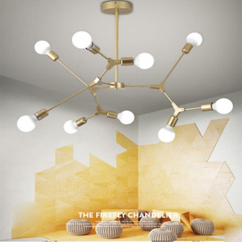 Modern minimalist restaurant black iron pendant light nordic DIY creative home deco living room gold E27 LED bulb pendant lamp