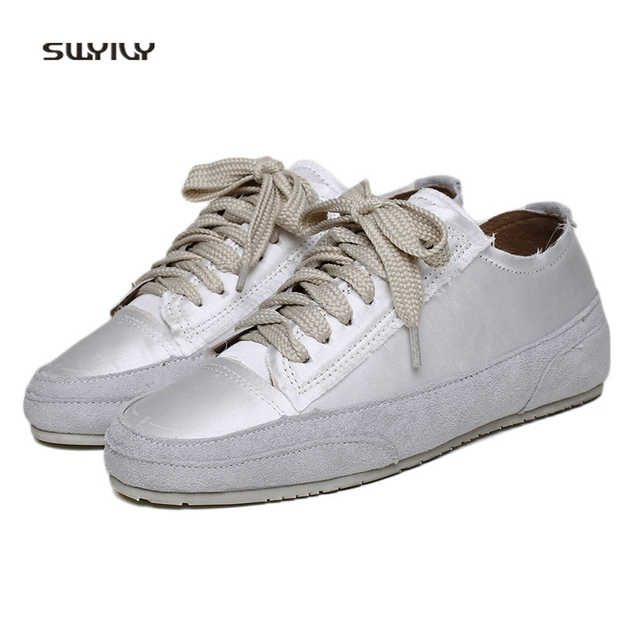 SWYIVY Women s Sneakers Silk Material Brand Design 2018 Spring Female  Casual Canvas Shoes Comfortable Dirty Old f761f93f6a57