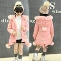 Fantasia cor de Rosa da Menina Jaqueta Casaco de Moda Crianças Menina Casaco de Inverno Quente Grossa Jaqueta Crianças Menina Jaqueta Com Capuz Criança Outerwear