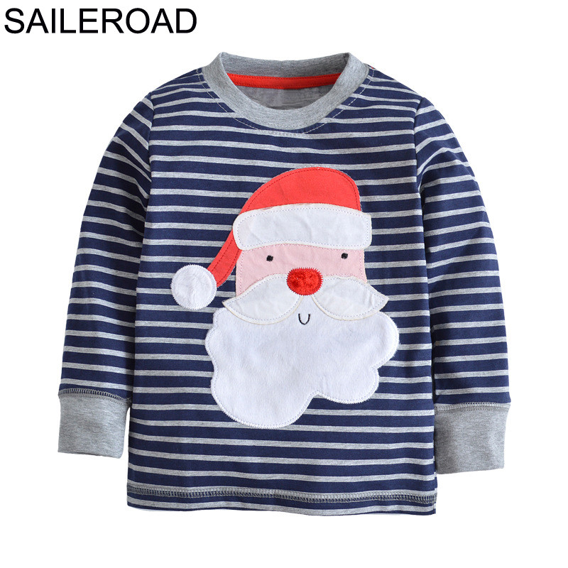 SAILEROAD de algodón niños niña camisas otoño Santa Claus bebé niños Camiseta de manga larga bebé traje de Navidad