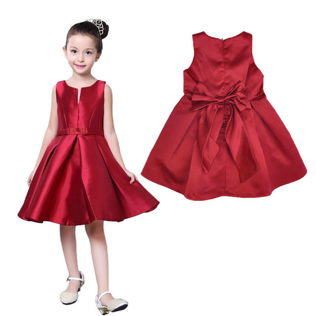 b7be6025d Baby Girl Clothing Dress New 2017 Summer Big Bow Red Host Vest ...