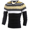Yellow Geometric Printed Knitted Sweaters Men V-Neck Long Sleeve Slim Youth Pull Homme 2017 Dad Father Slim Christmas Pullovers