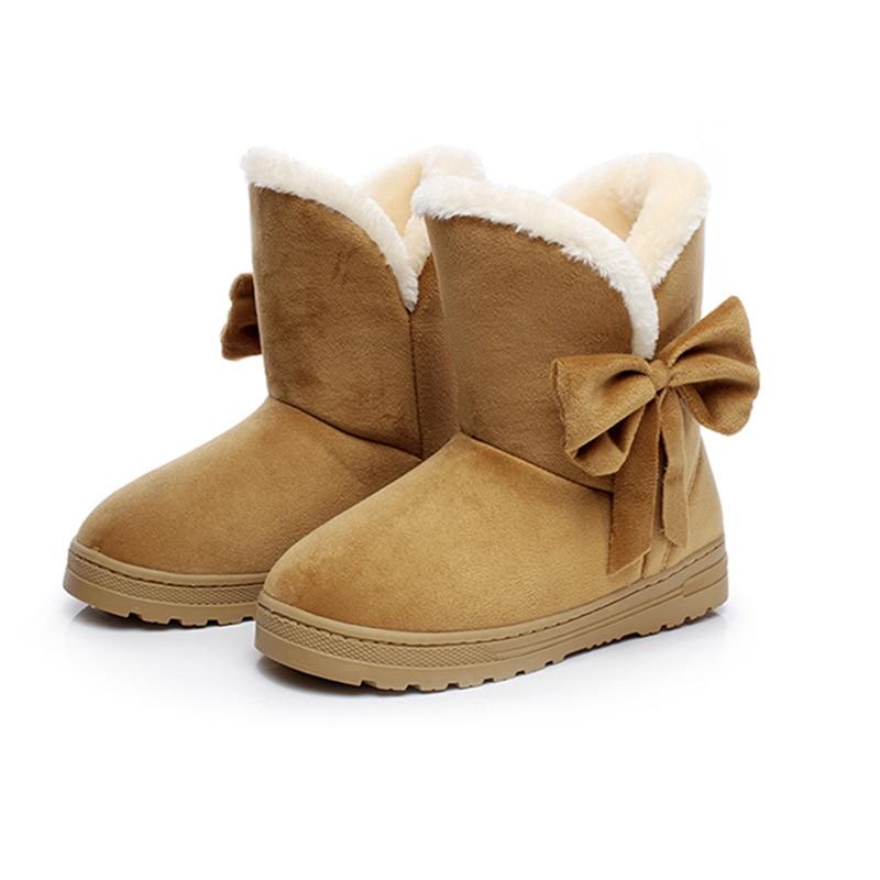 Winter Suede Ankle Boots Women Fur Bowtie Flat Cotton Boots Ladies Slip on Shoes Warm Comfort Short Snow Boot QST905 2015 new arrival fashion women winter snow boots warm ladies shoes bowtie slip on soft cute shoes purple color sweet boots