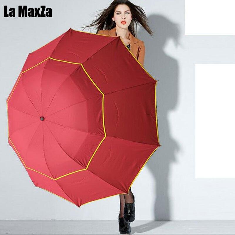 Double Deck Golf Umbrella Super Windproof Folding Umbrella Advertising Umbrella