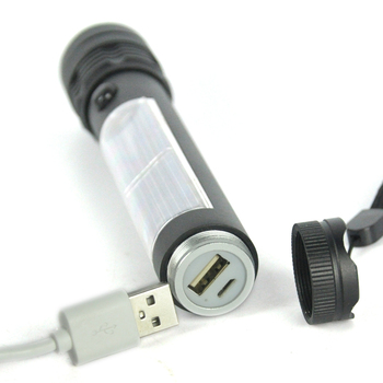 BORUiT Super Bright 3W XPE LED Solar Flashlight USB Recharging Torch Mobile Power Bank Flash Light Outdoor Camping Lantern 4