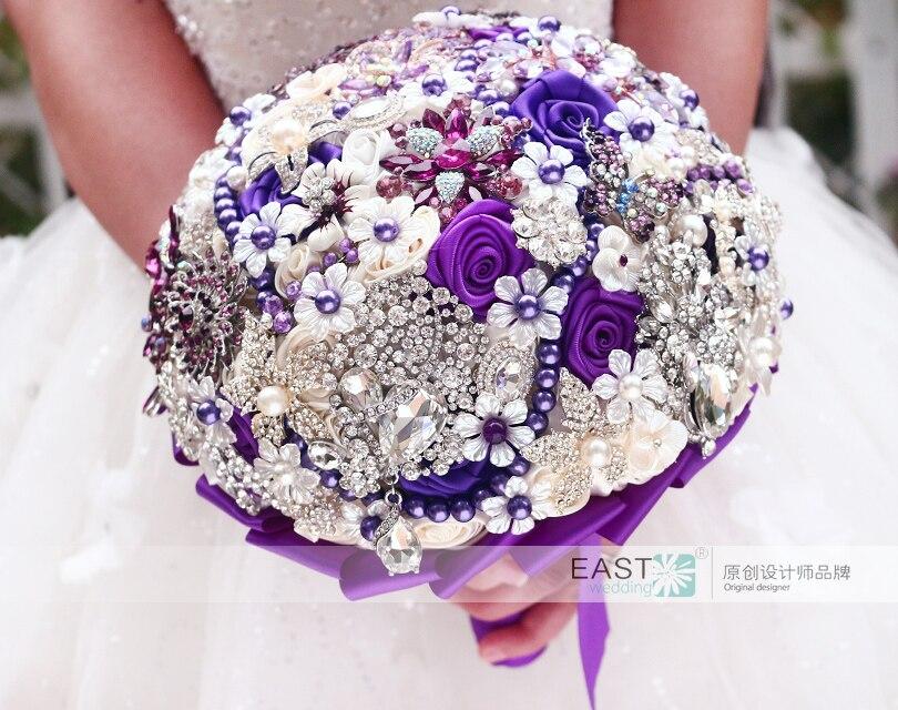 DIY brooch bouquet Silk Bride Bridal Wedding Bouquet Bridesmaid ...