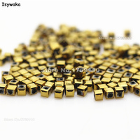 Isywaka 1980pcs Cube 2mm Shining Golden Color Square Austria Crystal Bead Glass Beads Loose Spacer Bead