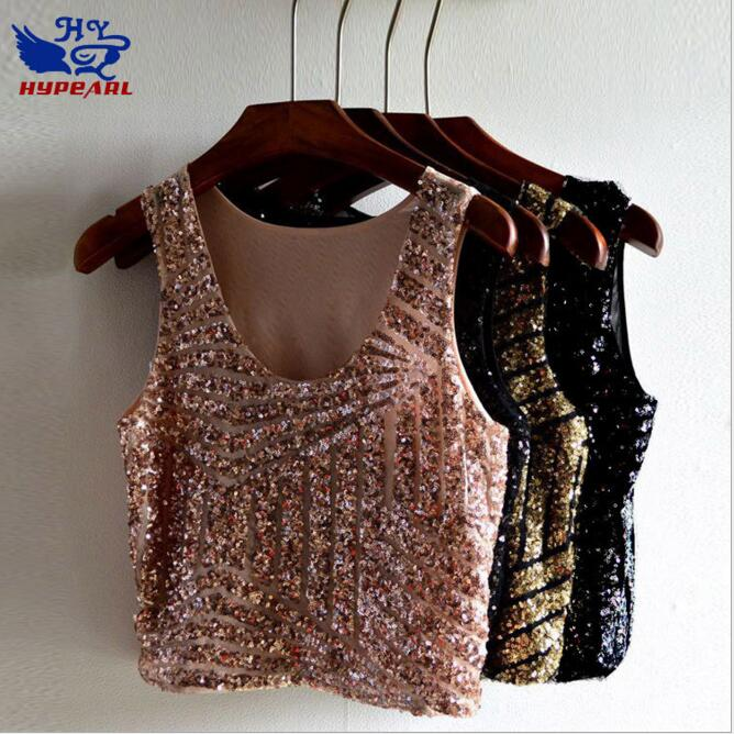 Hot Sale Cheap Women   Tank     Top   Summer Vest Black Gold Sequin Crop   Top   Sexy Nightclub Costume Clothing