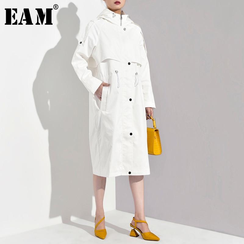 [EAM] Women Mesh Spliced Pocket Big Size Trench New Lapel Long Sleeve Loose Fit Windbreaker Fashion Autumn Winter 2019 1A593