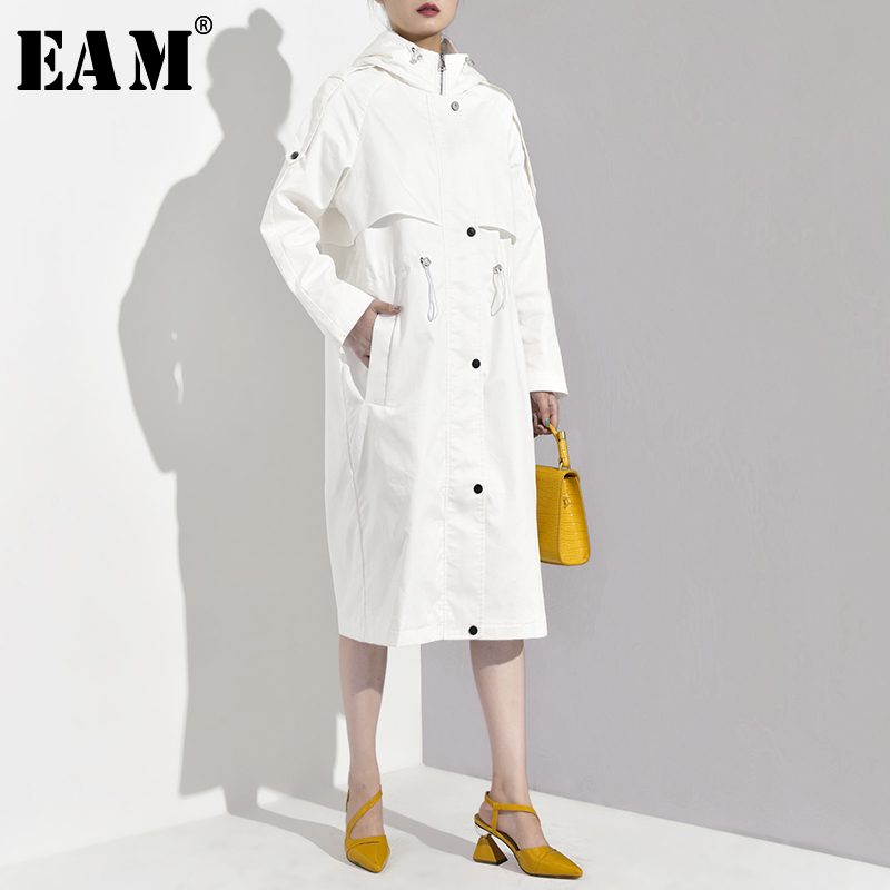 [EAM] 2019 New Spring Autumn Hooded Long Sleeve Zipper Drawstring Pockets Big Size Windbreaker Women   Trench   Fashion Tide YG531