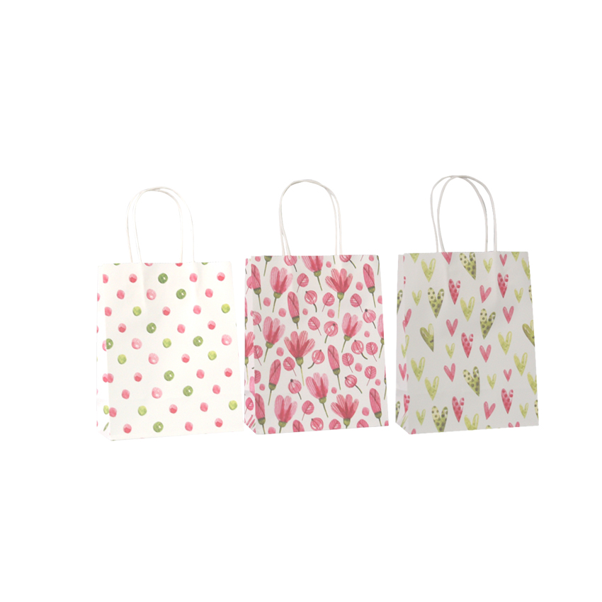 Image 4 - 50 Pcs/lot Sweet Flower printed  kraft paper bag Festival gift  bags Paper bags with handles children gift bags 18x15x8cmGift Bags