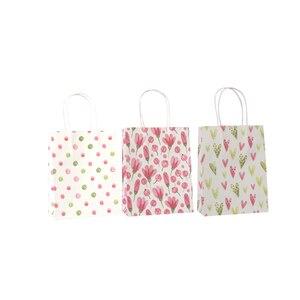Image 2 - 50 יח\חבילה מתוק פרח מודפס קראפט נייר תיק פסטיבל מתנת שקיות נייר שקיות עם ידיות ילדי מתנת שקיות 18x15x8cm