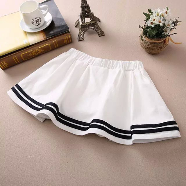 ef4cd3210cac 2106 New Casual Cotton Short Skirts for Ladies Navy Blue White Students Pleated  Skirts Women High Quality Stripe Mini Skirt