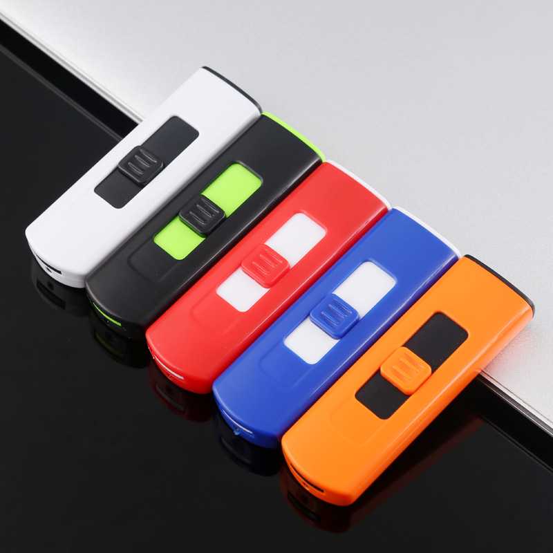 Image 3 - USB Lighter Rechargeable Electronic Lighter Thin Cigarette Windproof Turbo Stripe Lighter Cigar Plasma Flameless Double Side-in Matches from Home & Garden