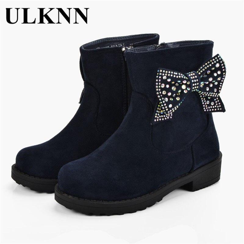 ULKNN Girls Winter Boots Plush Warm Children Shoes Flock Waterproof Kids Botas Butterfly Crystals Snow Boots Girls Kids Shoes