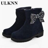 ULKNN Girls Winter Boots Plush Warm Children Shoes Flock Waterpoof Kids Botas Butterfly Crystals Snow Boots