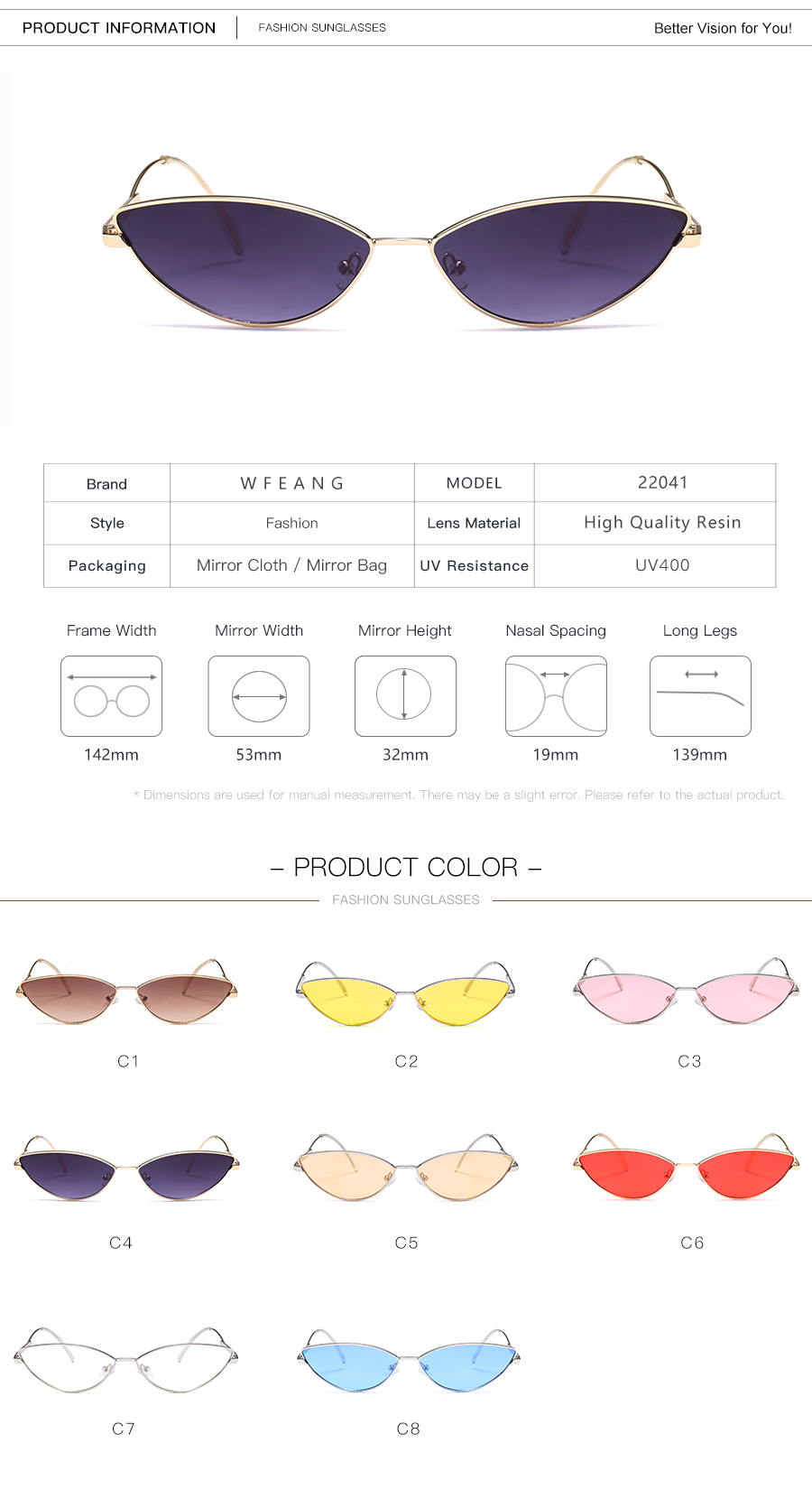 9eb690c3129f WFEANG Sunglasses Women Cat Eye Luxury Brand Designer Sun Glasses ...