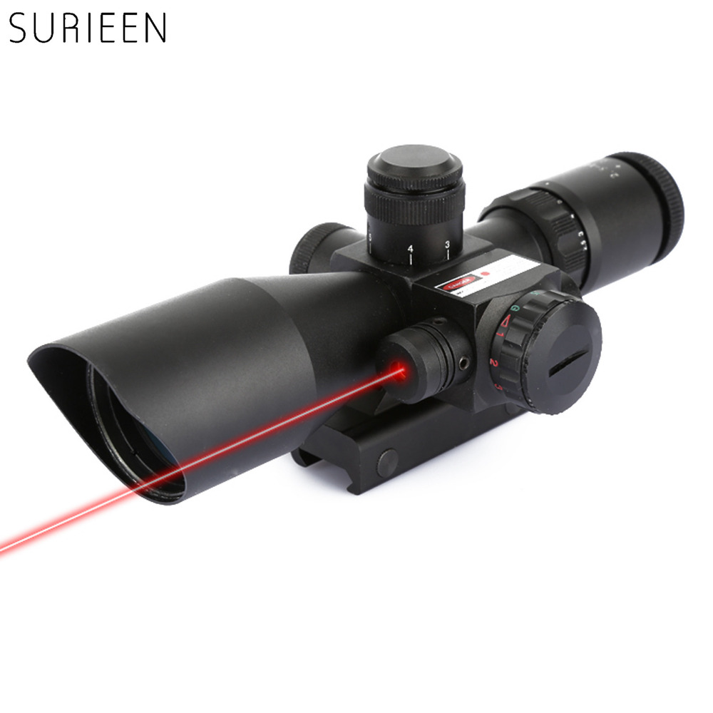 ФОТО SURIEEN Hunting Gun 2.5-10x40 Rifle Scope Red Green Dot Adjustable Red Laser Reticle Illuminated Sight Scope Fit 20mm Rail Mount