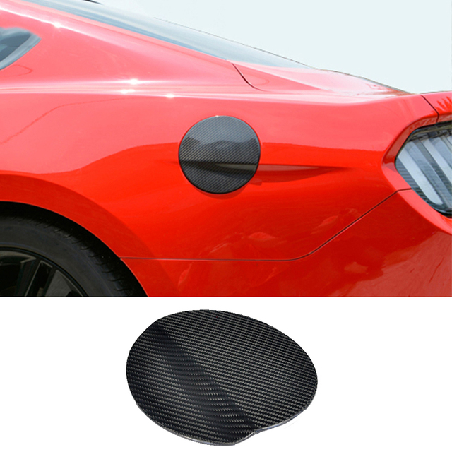 QHCP Fuel Tank Cover Gasoline TanK Cover Fuel Tank Cap Exterior Parts Carbon Fiber For Ford Mustang 2015-2017 Free Shipping
