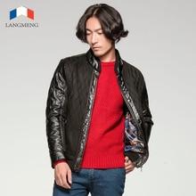 Langmeng 2016 мужчин зимний пиджаки теплый повседневные куртки пальто мужчины марка качество толстая куртка пальто тонкий кожаный лоскутное мужские куртки