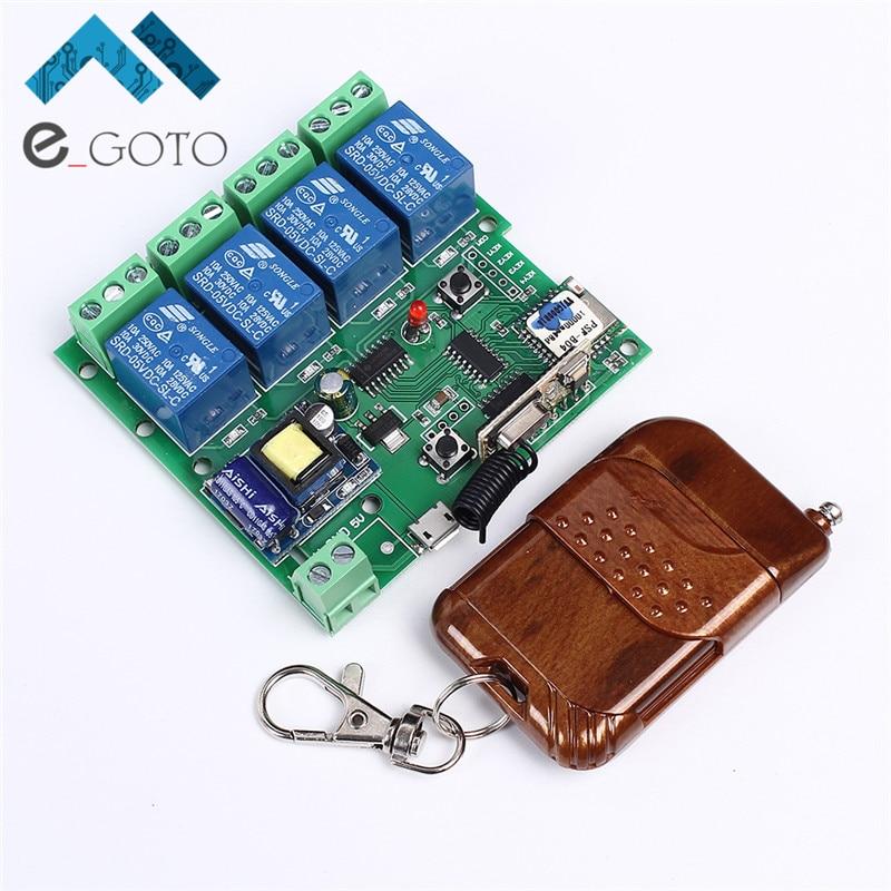 220 V 4 Canal Wifi Relais Module Téléphone APP Sans Fil Télécommande WIFI Commutateur Jog Auto-Verrouillage Interlock + 433 M Télécommande