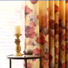 2018 New Curtains For Dining Living Bedroom Room European style duplex printing high-grade window shading moonlight screens
