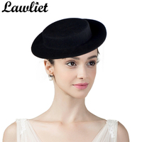 Women Fascinators Hats Small Wide Brim Wool Fedoras Hats Flat Top Hats Ladies Girls Wedding Party Cocktail Headwear DIY Hat Base