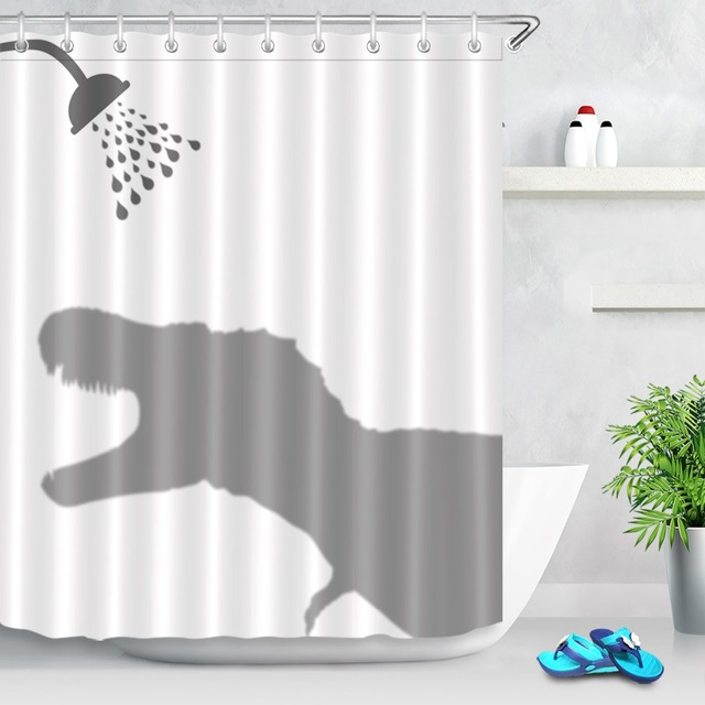 Funny Cartoon Style Custom Waterproof Dinosaur Roaring Shadow Shower Curtain Polyester Fabric Bathroom Bath Kids Gift