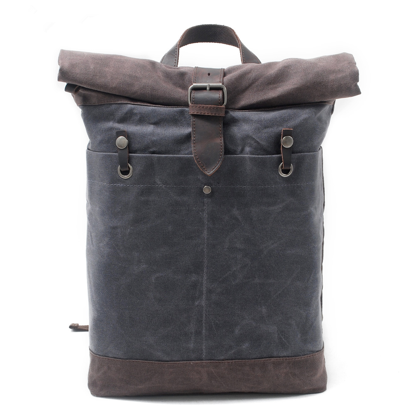 Melodycollection Man OilSkin Bags Batik Waxed Canvas Rucksack Backpack Roll up top bag men's waterproof out door travel Daypack